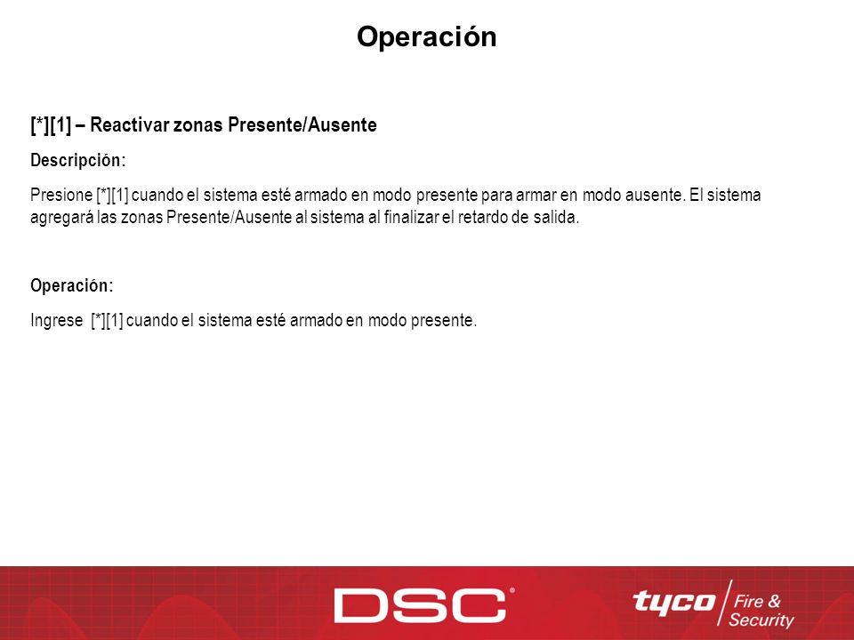 Operación [*][1] – Reactivar zonas Presente/Ausente Descripción: